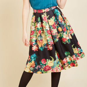 ModCloth A-Line Pleated Midi Skirt Floral Print